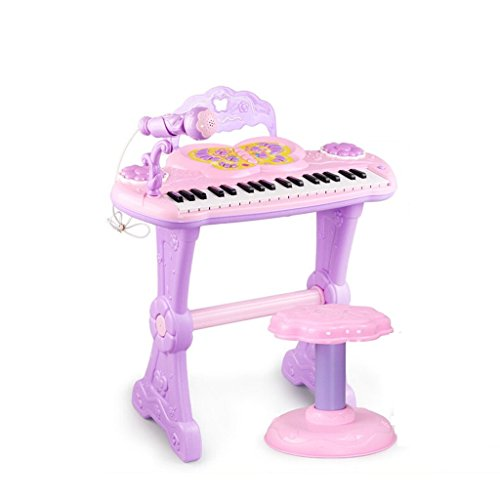 DUWEN Keyboard Children Electronic Keyboard With Microphone 3-6-8 Years Old Early Education Soft Light Multifunctional Piano Can Connect Mobile Phone (Color : Purple)