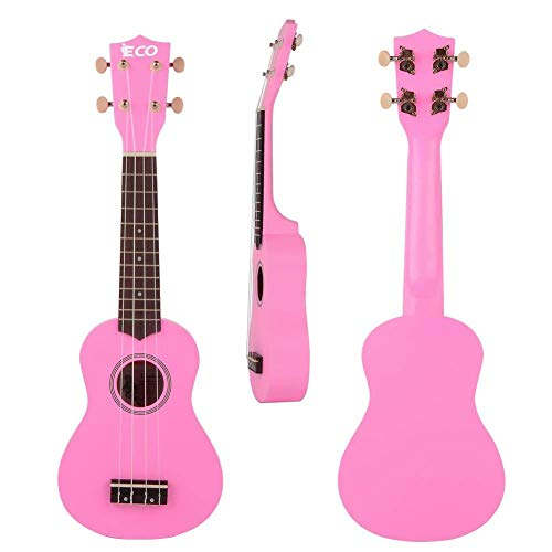 Soprano Ukulele Starter Set-21 Inch w/Gig Bag Learn to Play Songbook Digital Tuner Strap All in One Kit Color Series Pink