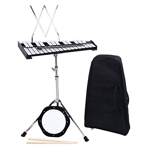 Giantex Glockenspiel Percussion Practice Bell Kit Set 30 Note, with Mallets Drums Bells Practice Pad Music Stand Xylophone for School Kid Bands Teachers, Percussion Glockenspiels w/Bag Case