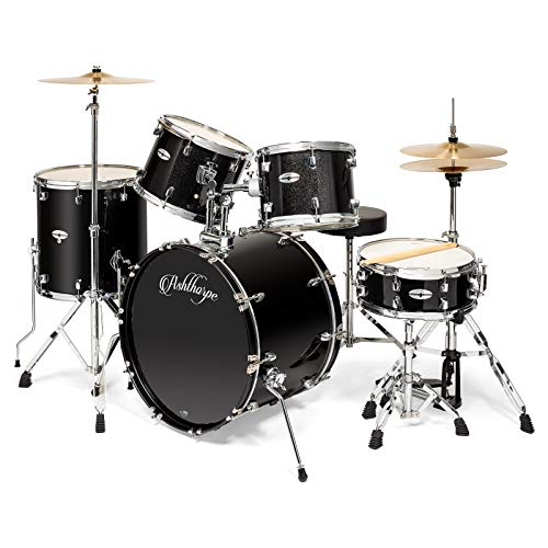 Ashthorpe 5-Piece Full Size Adult Drum Set with Remo Heads & Premium Brass Cymbals – Complete Professional Percussion Kit with Chrome Hardware – Black