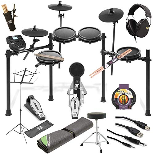 Alesis Nitro Mesh Electronic Drum Kit + Professional Headphones + Drum Mat + Pair of Stix & Stick Holder + Throne + Music sheet stand + Instrument Cable + Stereo & USB Cables – Top Accessory Bundle!