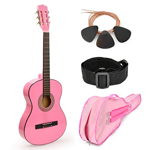 Pink Wood Guitar with Case and Accessories Great Gift for Kids/Girls / Beginners (38″)