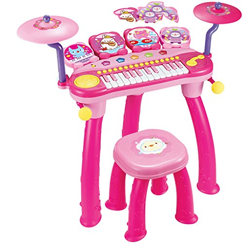 Keyboard Children's Keyboard Drum Combination Instrument DJ Kid Toy Piano With Microphone (Color : Pink)