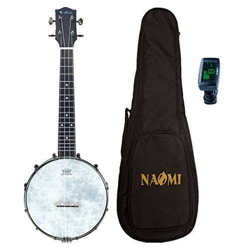 B Blesiya Banjo Ukulele 4 String Banjolele Ukelele Uke Concert 23 Inch Maple Wood with Gig Bag Tuner