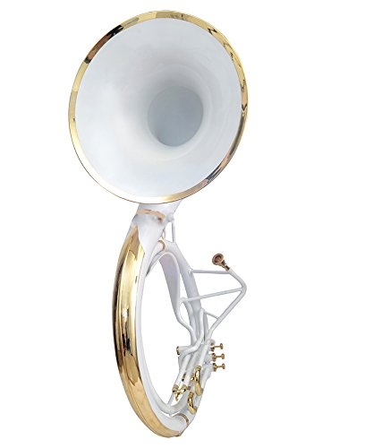 sousaphone for sale KING SIZE TUBA 24″ FOR SALE Bb PITCH WHITE COLORED WITH BAG