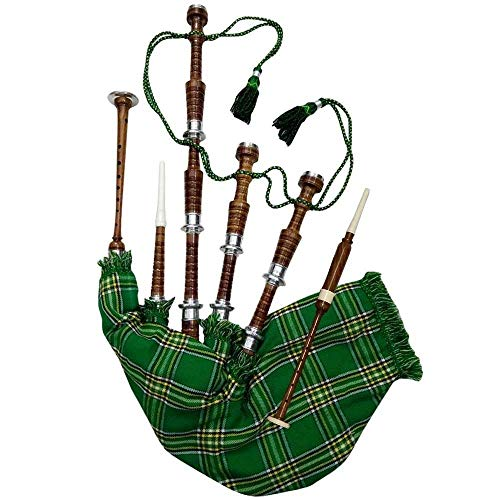 Scottish Full Size Bagpipe Rosewood or Black Finish with Silver Plain Mounts Free Tutor Book, Carrying Bag, Drone, Reeds (Brown,National Green)