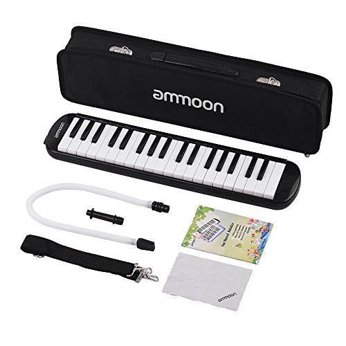 ammoon Melodica 37 Keys Piano Style Keyboard with Carry Case for Teaching and Playing, Beginners Kids Music Gift-Black