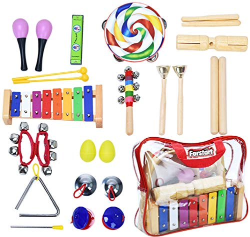Toddler Musical Instruments – Percussion Instruments for Kids | 13 Types 25pcs Wooden Rhythm & Music Toys Set with Lollipop Tambourine Xylophone Early Learning Preschool Educational Toys Storage Bag
