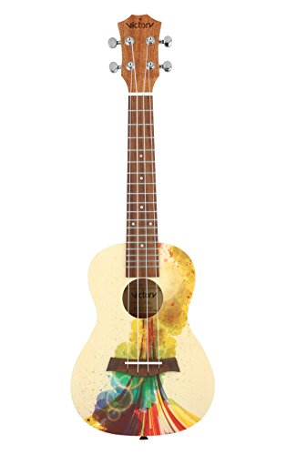 VIVICTORY Concert Ukulele 23 Inch Spruce Mahogany and Painting style with Beginner kit : Gig Bag,Tuner,Straps,Picks and Nylon String – Natural Color