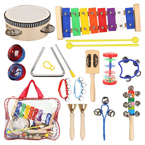 STYDDI Musical Instruments for Toddler – 11 Types 14pcs Wooden Xylophone Tambourine Set for Kids Preschool Educational, Early Learning Musical Toys for Boys and Girls with Storage Bag