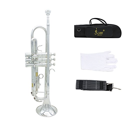 ammoon Trumpet Bb B Flat Brass Exquisite with Mouthpiece Gloves