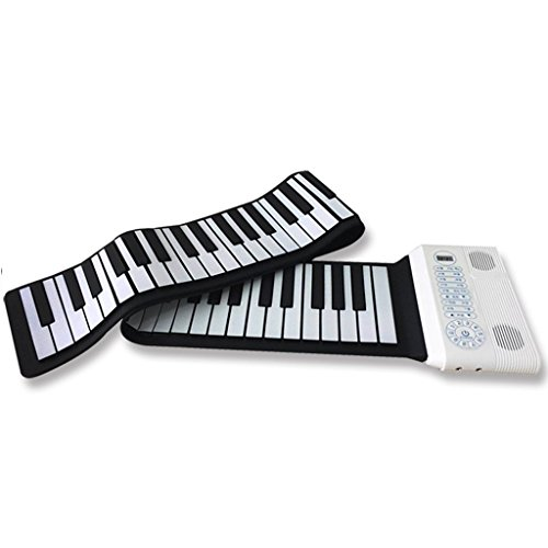 DUWEN Keyboard Hand Roll Piano 61 Keyboard Thicker Version Portable Beginner Fold Early Education (Color : White)
