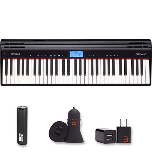 Roland GO:PIANO Education Bundle Digital Keyboard with Integrated Bluetooth Speakers and Faber Piano Adventures Lesson Book (GO-61PC) + PowerBank + USB Car Charger + USB Wall Charger, EZEE Bundle