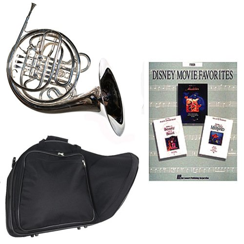 Band Directors Choice Silver Plated Double French Horn Key of F/Bb – Disney Movie Favorites Pack; Includes Intermediate French Horn, Case, Accessories & Disney Movie Favorites Book
