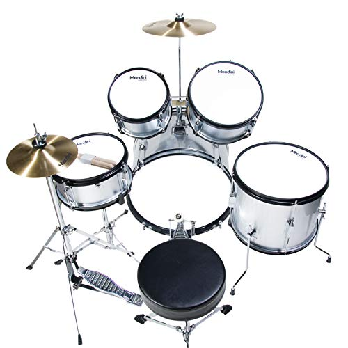 Mendini by Cecilio 16 inch 5-Piece Complete Kids/Junior Silver Drum Set with Adjustable Throne, Cymbal, Pedal & Drumsticks