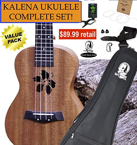 Kalena Factory Direct Ukulele with instruction book, strap, tuner, extra strings, felt picks, complete set for all ages (24″ Concert Hibiscus, Sanded Mahogany)