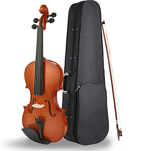 UKELE Violin with Hard Case, Chin Rest, Bow and Rosin – Size 4/4 Full Size – Satin Antique Finish