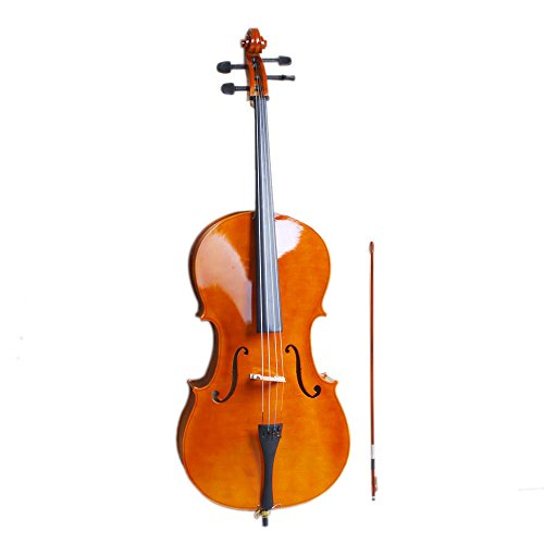 4/4 Acoustic Cello + Case + Bow + Rosin Wood Color Beautiful Varnish Finishing (Natural color)