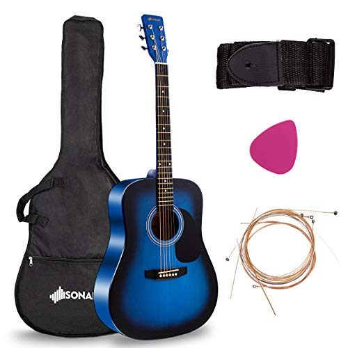 """Sonart Full Size Acoustic Guitar, 41"""" Wooden Structure Steel String W/Case, Shoulder Strap, Pick, Extra Strings for Beginners, Starters, Blue"""