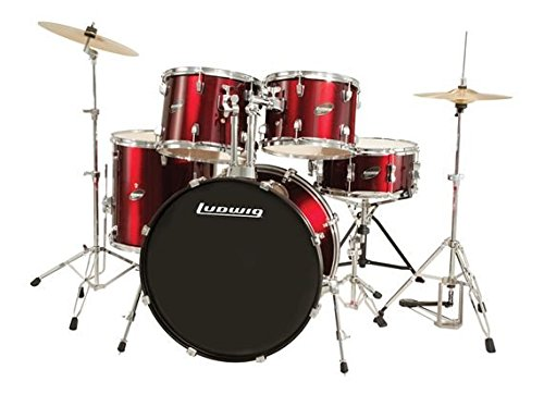 Ludwig Accent Fuse Wine Red Sparkle 5-Piece Drum Set (Includes Hardware, Throne, Pedal, Cymbals, Sticks and Drum Key)
