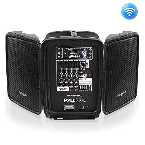 Karaoke Pa Speaker Mixer System – 600 Watt 8-Channel Portable Bluetooth Wireless PA Speaker Amplifier Kit with 8″ Subwoofer and 1″ Horn Tweeter, MP3, AUX – USB XLR 1/4″ RCA – Pyle PPHP898MX