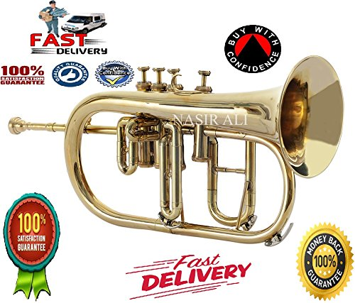 FLUGEL HORN 4 VALVE Bb PITCH BRASS WITH FREE HARD CASE + MP + TUNED