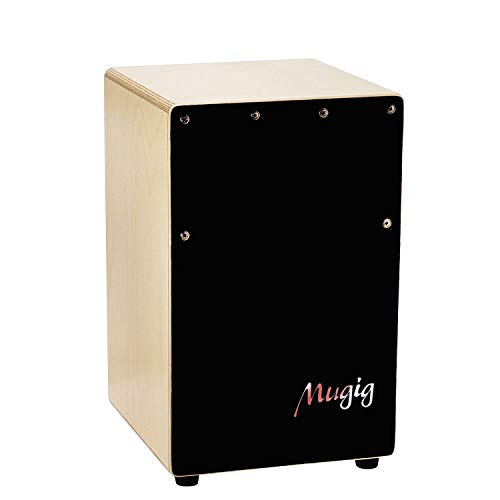 Mugig Cajon Drum Box, Birch Plywood Mini Box Drum with String Structure Inside and Alloy Screw Adjustable