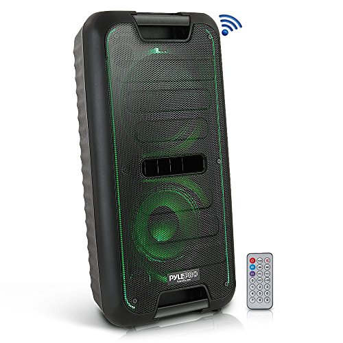 Wireless Portable PA Speaker System – 360W Bluetooth Compatible Battery Powered Rechargeable Outdoor DJ Sound Speaker Microphone Set MP3 USB SD FM Radio RCA 1/4″ Mic in AUX Wheels – Pyle PPHP28BA