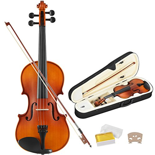 KUPPET Full Size 4/4 Solid Wood Acoustic Violin, Professional Handmade Violin with Hard Case, Bow, Rosin and String for Beginner, Antique Solid Wood