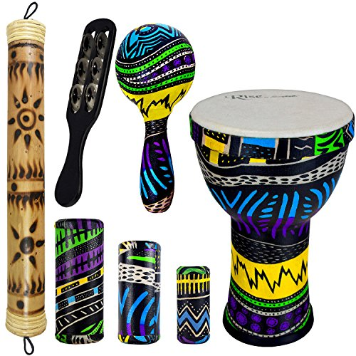 Rise by Sawtooth Jamaican Me Crazy Percussion Set with Djembe & Rain Stick