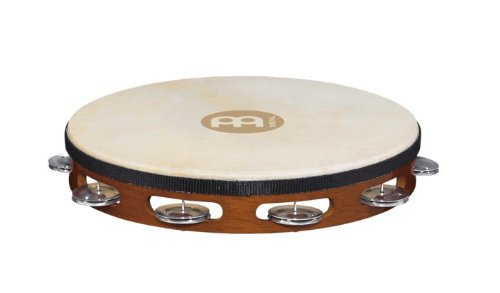 Meinl Percussion TAH1A-AB Traditional 10-Inch Wood Tambourine with Goat Skin Head and Aluminum Jingles, 1 Row