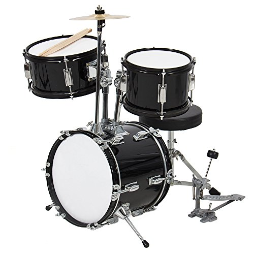 Best Choice Products 3-Piece Kids Beginner Drum Set w/Sticks, Chair, and Drum Pedal – Black