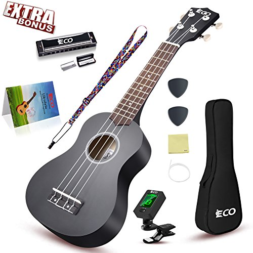 Soprano Ukulele Starter Set-21 Inch w/Gig Bag Learn to Play Songbook Digital Tuner Strap All in One Kit Color Series Black