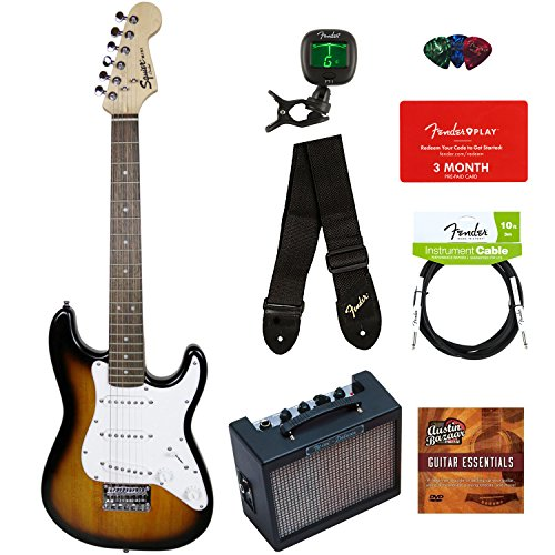 Squier by Fender Mini Strat Electric Guitar – Brown Sunburst Bundle with Amplifier, Instrument Cable, Tuner, Strap, Picks, Fender Play Online Lessons, and Austin Bazaar Instructional DVD