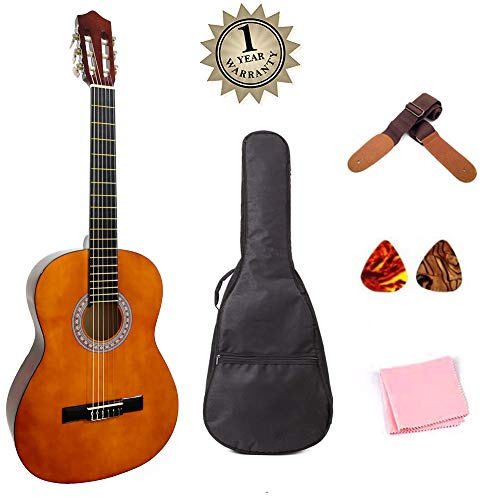 Classical Guitar Acoustic Guitar 39 inch Full Size Starter Kits for Beginners with Thick Waterproof Bag Strap Picks Wipe