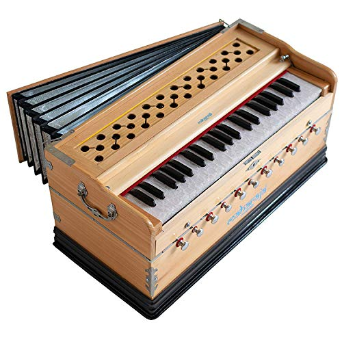 Maharaja Musicals Harmonium, 11 Stops, In USA, 3 1/2 Octave, Double Reed, Coupler, Natural Color, Standard, Padded Bag, A440 Tuned, Harmonium Indian Musical Instrument (US-PDI-AAE)