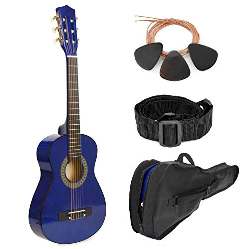 Wood Guitar With Case and Accessories for Kids/Boys / Beginners (30″ BLUE)