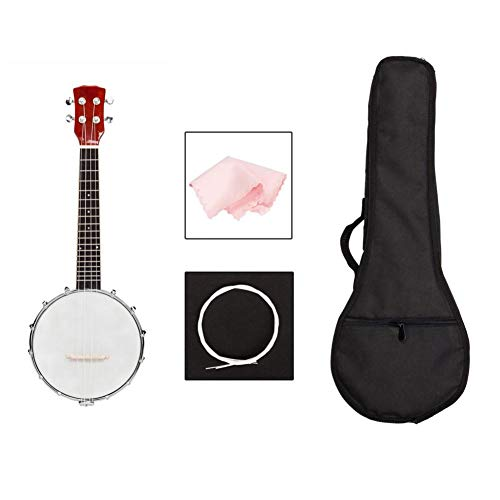 4-string Banjo Uke Ukulele Banjolele,Exquisite Professional Banjo Set (Wood Color)