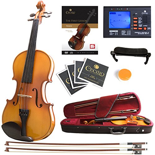 Mendini MV400 Ebony Fitted Solid Wood Violin with Tuner, Lesson Book, Hard Case, Shoulder Rest, Bow, Rosin, Extra Bridge and Strings – Size 3/4