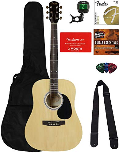 Fender Squier Dreadnought Acoustic Guitar – Natural Bundle with Fender Play Online Lessons, Gig Bag, Tuner, Strings, Strap, Picks, and Austin Bazaar Instructional DVD