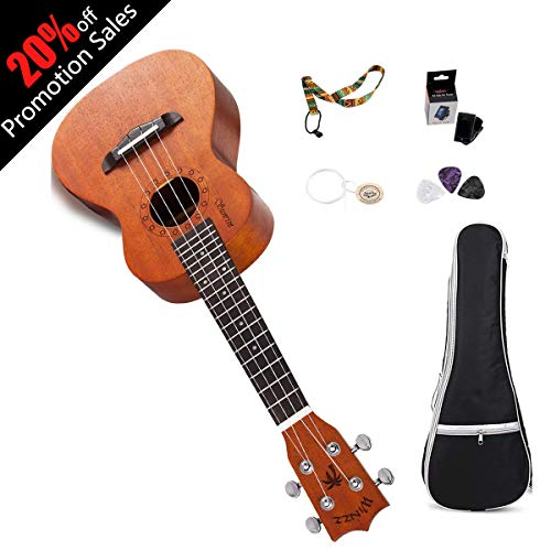WINZZ Mahogany Plywood Soprano/Concert Hawaii Ukulele with Bag, Tuner, Strap, Picks, Extra Strings (21 Inches, Natural)