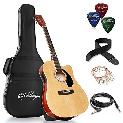 Ashthorpe Full-Size Cutaway Thinline Acoustic-Electric Guitar Package – Premium Tonewoods – Natural