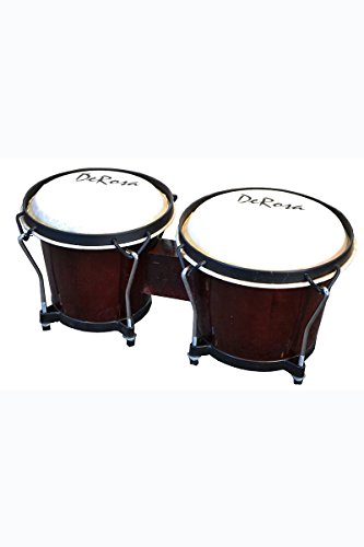 Junior Beginners Wine Red Percussion Double 7″ & 8″ Inch Diameter Student Wooden Bongos Drums with Tuning Wrench & DirectlyCheap(TM) Translucent Blue Medium Pick