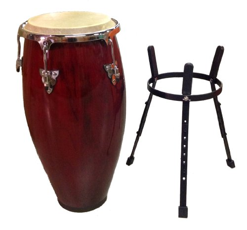 Conga DRUM 12″ and STAND – RED WINE -World Percussion NEW!