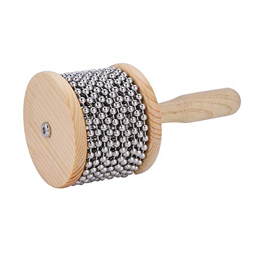 Vbestlife Wooden Cabasa Percussion Band Cabasa Accompaniment Beat Instrument with Metal Beads for Children Kids Student