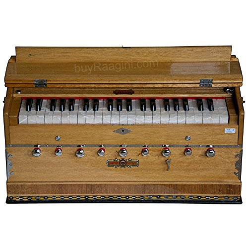 BINA Sangeet, Harmonium In USA, Natural Color, 9 Stops, 3 1/2 Octaves, Double Reed, Coupler, Nylon Bag, Kirtans, Bhajans Musical Instrument Indian (US-PDI-BJB)