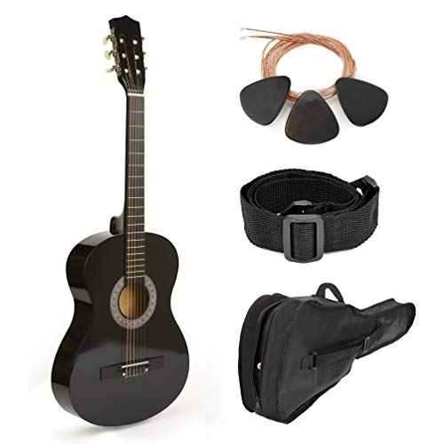 30″ Black Wood Guitar With Case and Accessories for Kids/Boys/Beginners