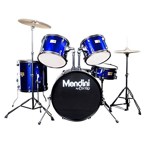 Mendini by Cecilio 5-Piece Full Size 22-inch Drum Set + Cymbals, Drumsticks & Throne, Blue