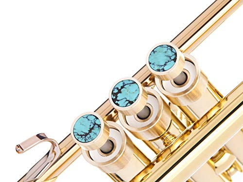 Trumpet Trim Kit for improving the sound. for all Yamaha & Stomvi Trumpet. Custom made KGUBrass (HEAVY, Raw Brass+Turquoise Stones)