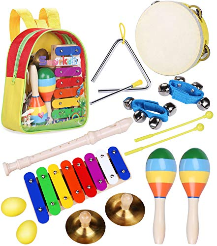 Toddler Musical Instruments Toys – Smarkids Percussion Instruments Toy Preschool Educational Musical Toys Set for Boys and Girls Including Xylophone Flute Tambourine Maracas with Backpack